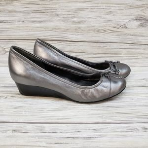 Cole Haan Pewter Air Tali Grand Lace Wedge